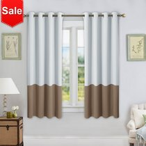 NICETOWN Thermal Insulated Color Block Curtains with Grommet Top, 52 Inches Wide, 2 Panels