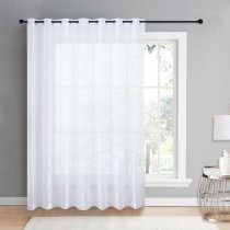NICETOWN Grommet Patio Door Sheer Curtain Panels - Linen Look Texture Semi-voile Window Drapes for Sliding Glasss Door (100 Inches  Wide, 1 Piece)