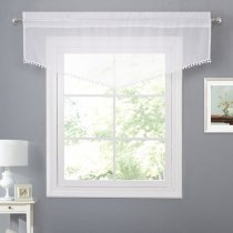 NICETOWN Pom Pom sheer Curtains - White Rod Pocket Voile Panels with Chic White Tassels for Home Decor