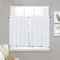 NICETOWN Rod Pocket Faux Linen Sheer Valances, 52 Inches Wide, 2 Panels