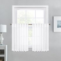 NICETOWN Faux Linen Sheer Valances Grommet, Rod Pocket & Back Tab header type, 52 Inches Wide, 2 Panels