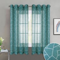 NICETOWN Grommet Top Geometric Figure Printed Sheer Curtains Window Privacy Semitransparent for Bedroom, 52 Inches Wide