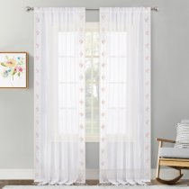 NICETOWN 54  Wide Romantic Sheer curtains With Embroidery Lace on the Sides and Pendant Lace on the Bottom, 2 Panels