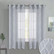 NICETOWN Grommet Top Moire Printed Sheer Curtains Window Privacy Semitransparent for Bedroom, 52 Inches Wide