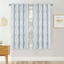 Blackout Curtains with Moire Pattern, Sunlight Block Out Window Curtain Draperies for Bedroom, Wide 52 Inches Per Panel, 2 Pieces