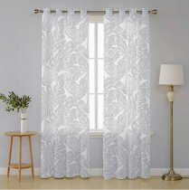 NICETOWN Leaf Printed Sheer Curtains,Faux Linen Grommet Voile Draperis for Bedroom/Living Room Window, Set of Two in 52 Inch Wide