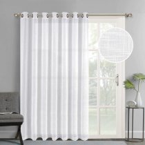NICETOWN Grommet Linen-like Patio Door Curtains, Semi Voile Drape Sheer Panels for Sliding Glass Door, W100 Inches, 1 panel