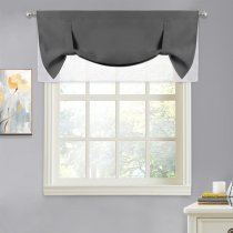 NICETOWN Tie Up Valance Curtain - Room Darkening Valance Tie Up Shade Functional Window Treatment Drape, W46 x L20 Inch