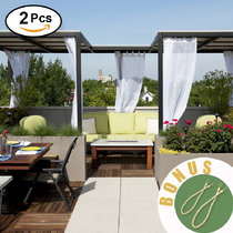 NICETOWN Outdoor Linen Look Curtains - Water Resistant Semi Sheer Curtains with Rope Tiebacks, Durable Linen Look Outdoor Curtains with Tab Top for Porch, 2 Pieces, 54 Inch Wide, White