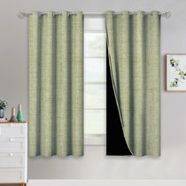 NICETOWN Country Style Faux Linen Knitting Pattern Full Blackout Grommet Window Curtains for Living Room / Bedroom, 52  Wide, 2 Panels