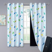 NICETOWN Kids Blackout Curtains, Grommet Rockets, Planets and Moons Pattern Printed Curtains with Stars Cut Liner, 52 W, 2 Panels.