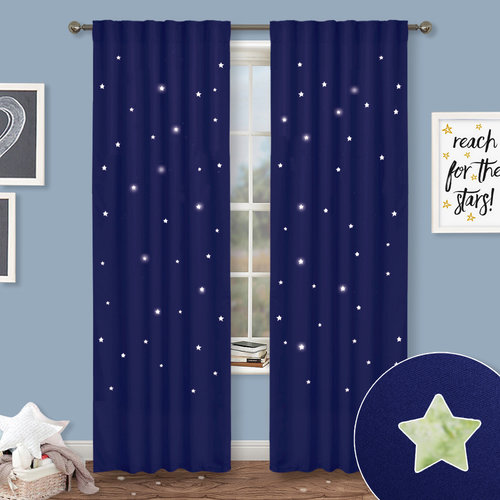 NICETOWN Blue Curtains for Kids Nursery - Naptime Essential Nursery Draperies, Creative Window Drapes with Star Cut Out Design for Cosmic Themed Kids Room (Set of 2, 52 Inch  Wide)