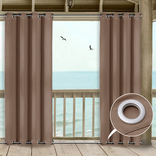 NICETOWN One Panel Top and Bottom Grommet Outdoor Curtains, 52 Inches  Wide