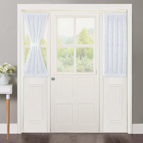 NICETOWN Sidelight Curtains for Front Door - Linen Textured Look Semi Voile Privacy Sidelight Panel Curtains Including Bonus Tiebacks, Sold as 2 Pieces