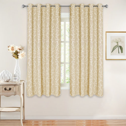 Geometric Pattern Printed Blackout Curtains for Living Room, Grommet Top Light Block Insulated Drapes for Energy Saving, 52 inch per Panel, 2 Pieces