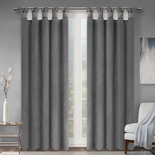 Velvet Blackout Curtains - New Design Stylish Soundproof Thick Velvet Panel Drapes Twisted Top with Deep Folds for Bedroom / Guest Room, W 52 Inch , Set of 2 Panels