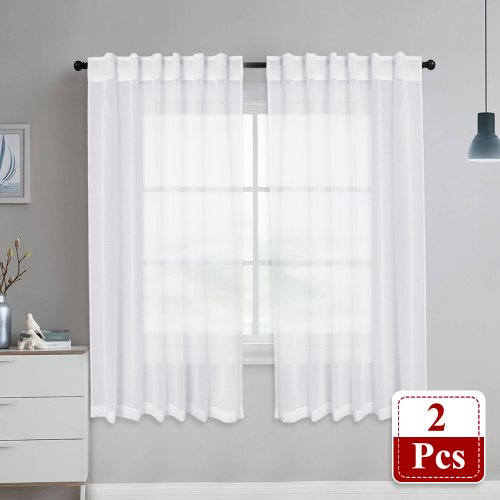 NICETOWN Rod Pocket & Back Tab Doris Sheer Curtains Linen Look Voile Drapes Panels, 2 Panels, 55 Inches Wide