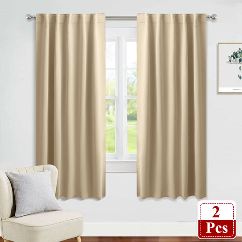 Back Tab Rod Pocket curtaons - Room Darkening Light Blocking Energy Saving Window Curtains for Kitchen/Bedroom with Back Tab Home Decoration, Wide 42 Inch , 2 Panels