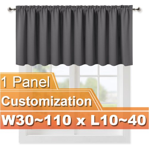 NICETOWN  Rod Pocket Blackout Valance,W 30-110, L 10-40 Inches, Sold as 1 Panel.