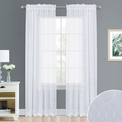 NICETOWN Diamond Embroidered Crushed Sheer Curtain for Kitchen, Bedroom, Living Room, Glass Door, 52 Inches W, 1 Pair
