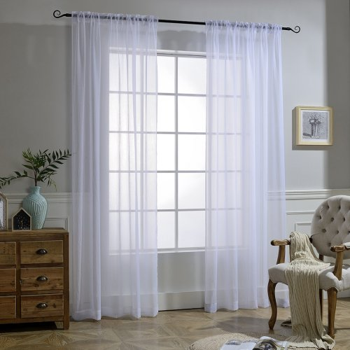 NICETOWN Rod Pocket 52 Inches Wide Crushed Sheer Voiles, 2 Panels
