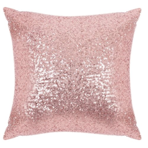 Sparkling Sequins Throw Pillow Covers - Comfortable Satin Solid Cusion Covers Pillowcases for Party with Hidden Zipper, 18 x 18 Inch