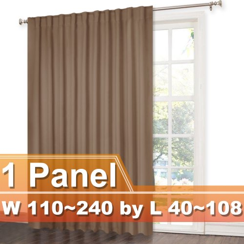 NICETOWN Customized Rod Pocket and Back Tab Blackout Curtain,Width 110-240 inch, Length 40-105 Inch, Sold as one panel