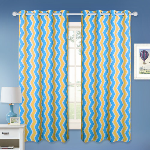NICETOWN Thermal Insulated Print Curtains - Home Decor Simple Chevron Zig Zag Pattern Room Darkening Panels, Light / Heat / Sun Blocking Drapes (2 Panels, 52 Inches Width)