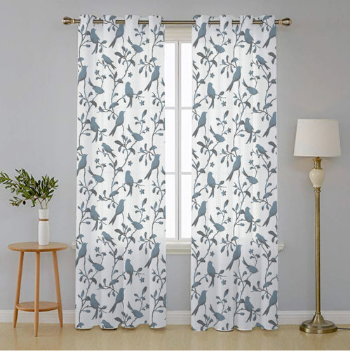NICETOWN Bird Printed Sheer Curtains, Paisley Faux Linen Grommet Voile Draperis for Bedroom/Living Room Window, Set of Two in 52 Inch Wide