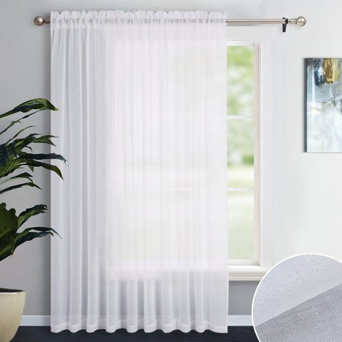 NICETOWN Rod Pocket Patio Door Sheer Curtain Panels - Linen Look Texture Semi-voile Window Drapes for Sliding Glasss Door (100 Inches  Wide, 1 Piece)