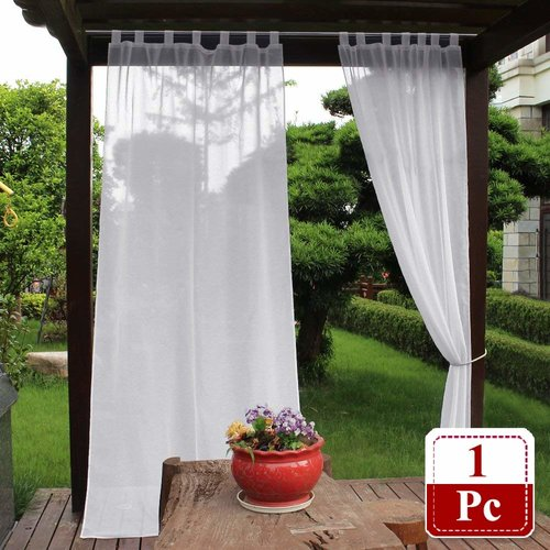 NICETOWN 1 Panel Semi Voile Outdoor Dolly Sheer Curtains with Tab Top, Bonus 1 Panel Rope Tieback, 54 Inches Wide