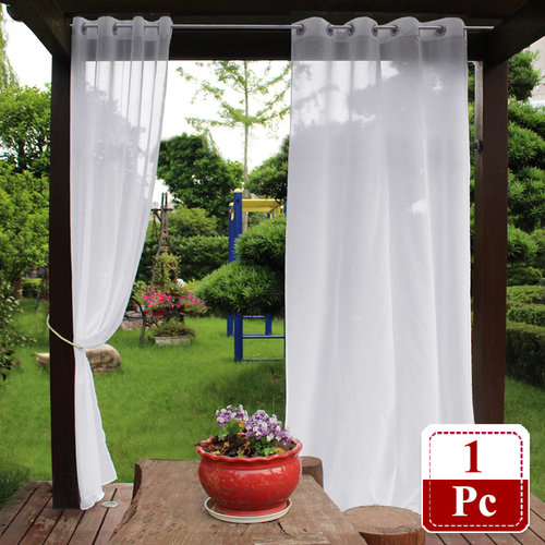NICETOWN 1 Panel Semi Voile Outdoor Dolly Sheer Curtains with Grommet Top, Bonus 1 Panel Rope Tieback, 54 Inches Wide, White