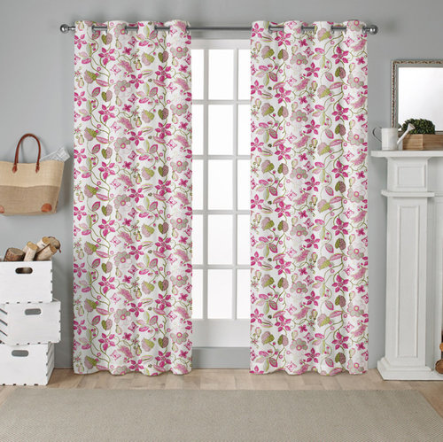 NICETOWN Pink Flower Tree Blackout Curtains, 52 Inches Wide