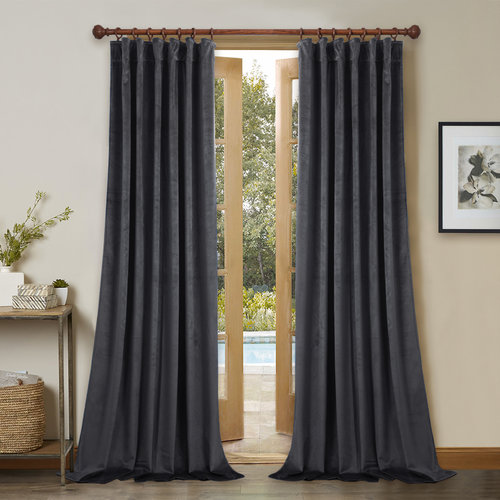 NICETOWN Blackout Velvet Curtains with Rod Pocket and Back Tab Drapes Wide 52 Inches