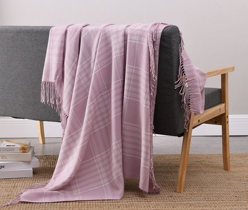 NICETOWN Plaid Weave Blanket Solid Knit Throw Blanket with Fringe Shawl 51 x 63 Inches Grid