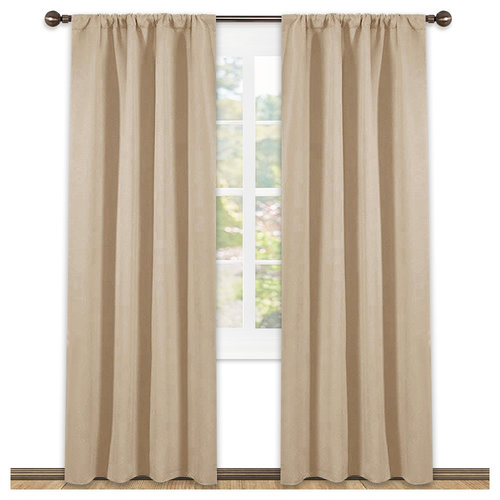 NICETOWN Thermal Insulated Blackout Curtains with Rod Pocket, 42 Inches Wide, 45 , 54 , 63 , 72  and 84 Inches Long Available