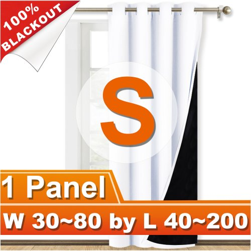 NICETOWN 100% Blackout Grommet Thermal Insulated Curtain, Width 30-80 Inch, Length 40-200 Inch, Sold as 1 Panel.