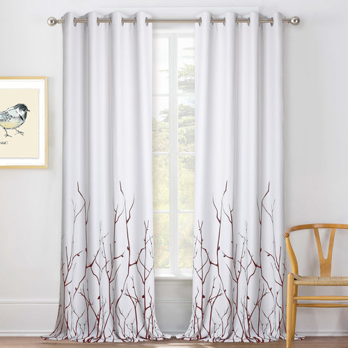 NICETOWN Tree Branch Patterned Curtain - Printed Thermal Insulated Blinds, Thick Heavy-Duty Blackout Window Dressings for Bedroom/Nursery/Kids Room/Cloakroom Décor, 52 In Wide, Set of 2