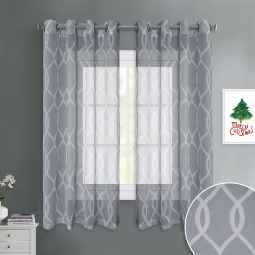 NICETOWN Grommet Top Moroccan Trellis Geometric Printed Sheer Curtains Window Privacy Semitransparent for Bedroom, 52 Inches Wide