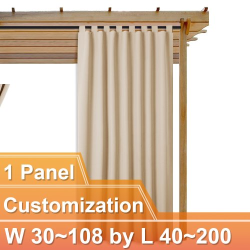 NICETOWN Outdoor Top Tab Blackout Curtain for Patio,W 30~80, L 40~160 Inches, 1 Panel.