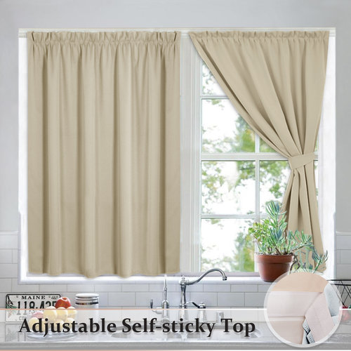 NICETOWN Portable Blackout Blinds Curtain Set - Self-Adhesive Window Treatment Drapes with 2 Tie Backs, 40 inch wide