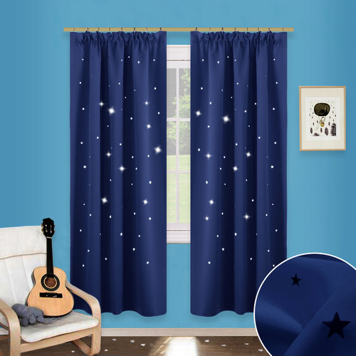Hollow Star Pencil Pleat Curtains - Thermal Insulated Ready Made Blackout Cutting Star Curtains / Starry Sky Drapes for Bedroom Nursery Kids, 2 Pieces, Width 46 Inches