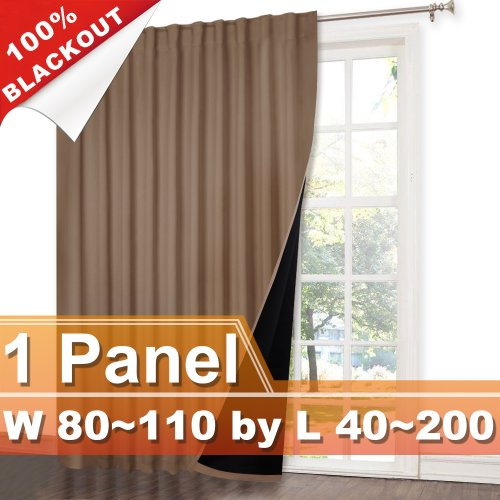 NICETOWN Rod Pocket&Hidden Tab 100% Blackout Curtain, W 80~110, L 40~200 Inches, 1 Panel.
