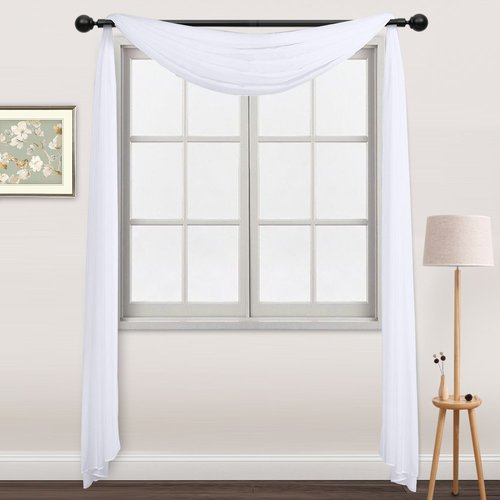 NICETOWN Sheer Panel Curtains Scarf, Sheer Scarf Voile Valance Curtain (One Piece, W60 x L216 Inches, White)