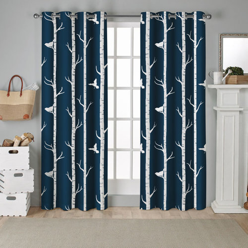 NICETOWN 52 Inches Birds Printed Wide Blackout Curtain, 2Pcs, Rings included