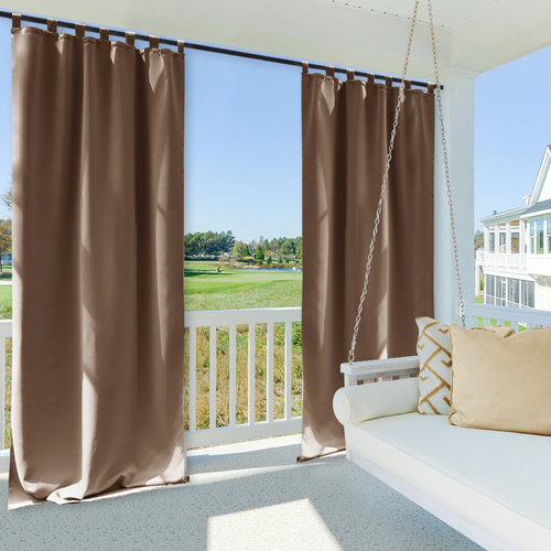 NICETOWN Patio Curtain Outdoor Panel, Tab Top Blackout Mildew Resistant Curtain, 52 Inches Wide, 1 Panel