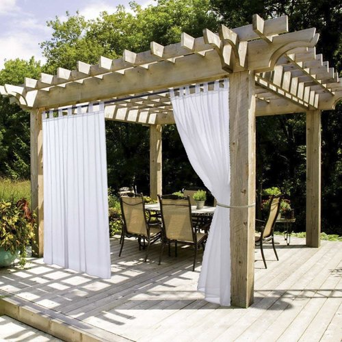 NICETOWN Outdoor Sheer Curtains with Tab Top, 54 Inches Wide, White