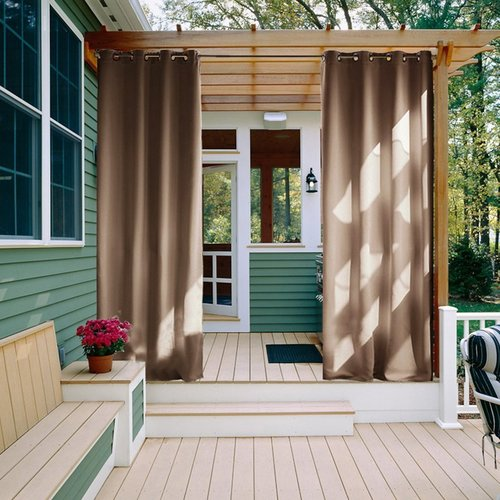 NICETOWN Outdoor Curtain Panel for Patio, Thermal Insulated Grommet Top Blackout Indoor Outdoor Drape, 52 / 100 Inches Wide, 1 Panel