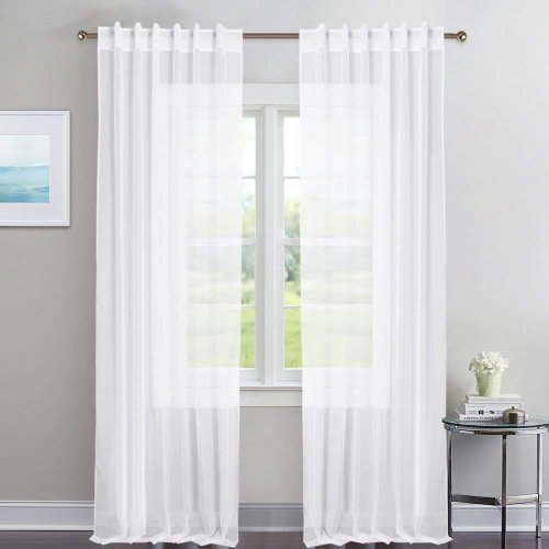NICETOWN Kitchen Window White Sheer Curtains - High Thread Sheer Voile Draperies / Drapes With Rod Pocket & Back Tab for Bedroom (2 Pieces, 54 Inches Wide Per Piece)