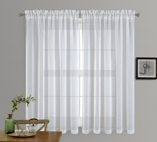 NICETOWN Rod Pocket Doris Sheer Curtains Linen Look Voile Drapes Panels, 2 Panels, 55 Inches Wide